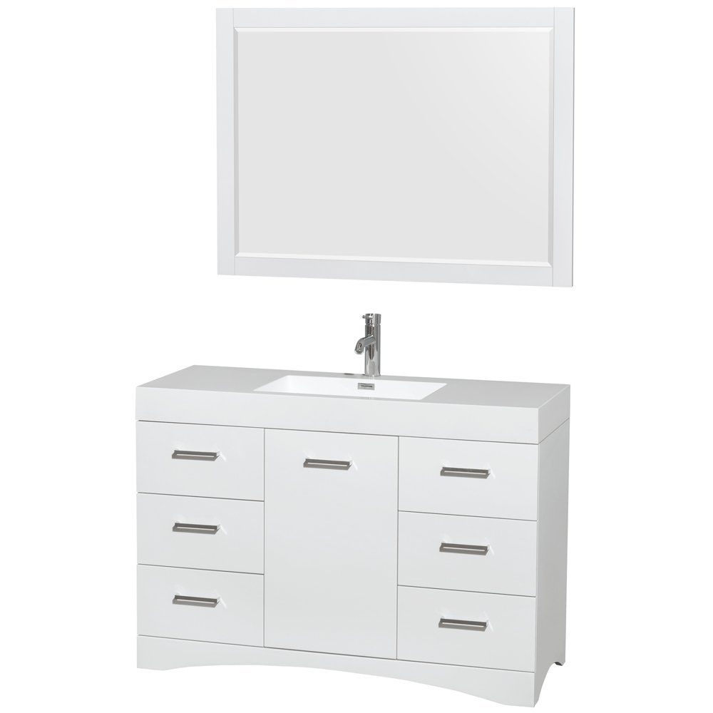Wyndham collection amare 48 quot dove gray single vanity white man made - Delray 48 Inch Single Bathroom Vanity In Glossy White Acrylic Resin Countertop Integrated Sink And 46 Inch Mirror By Wyndham Collection