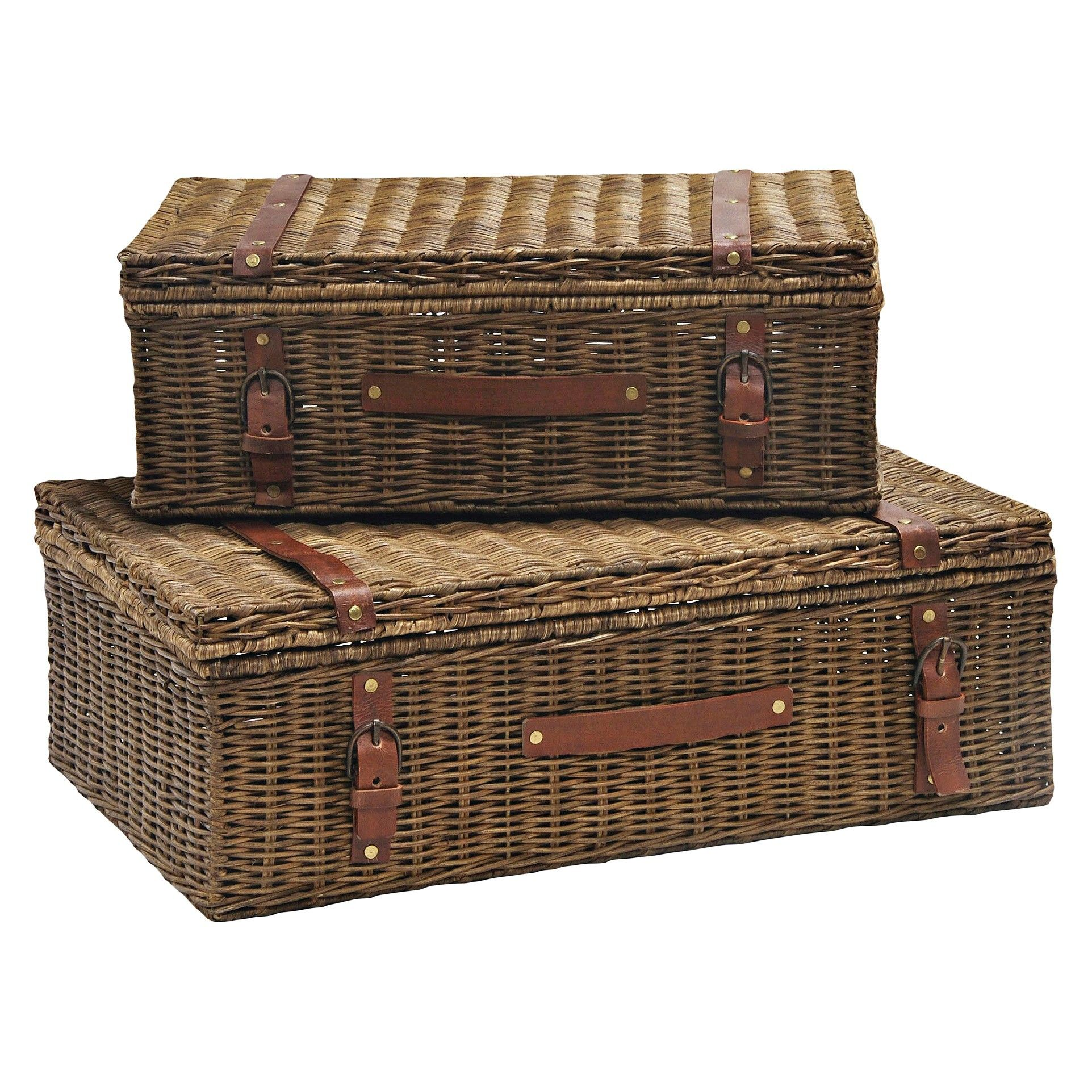Decorative Wicker Suitcase Honey Finish Set Of 2   Inspired By A Voyager  Wicker Suitcase,