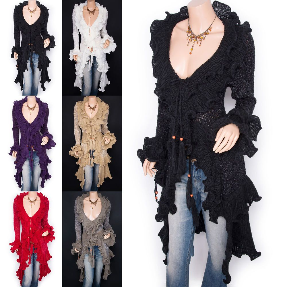 Retro Curves Ruffles Collared Knit Cardigan Long Sweater Jacket ...