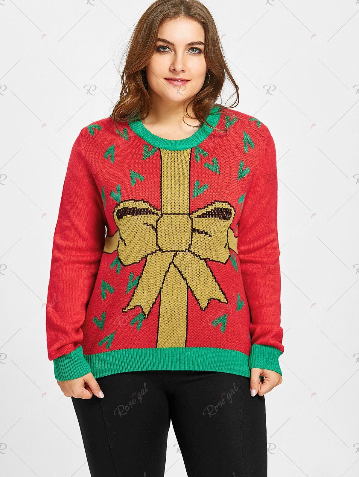 Plus Size Christmas Gift Bowknot Jacquard Sweater in 2020