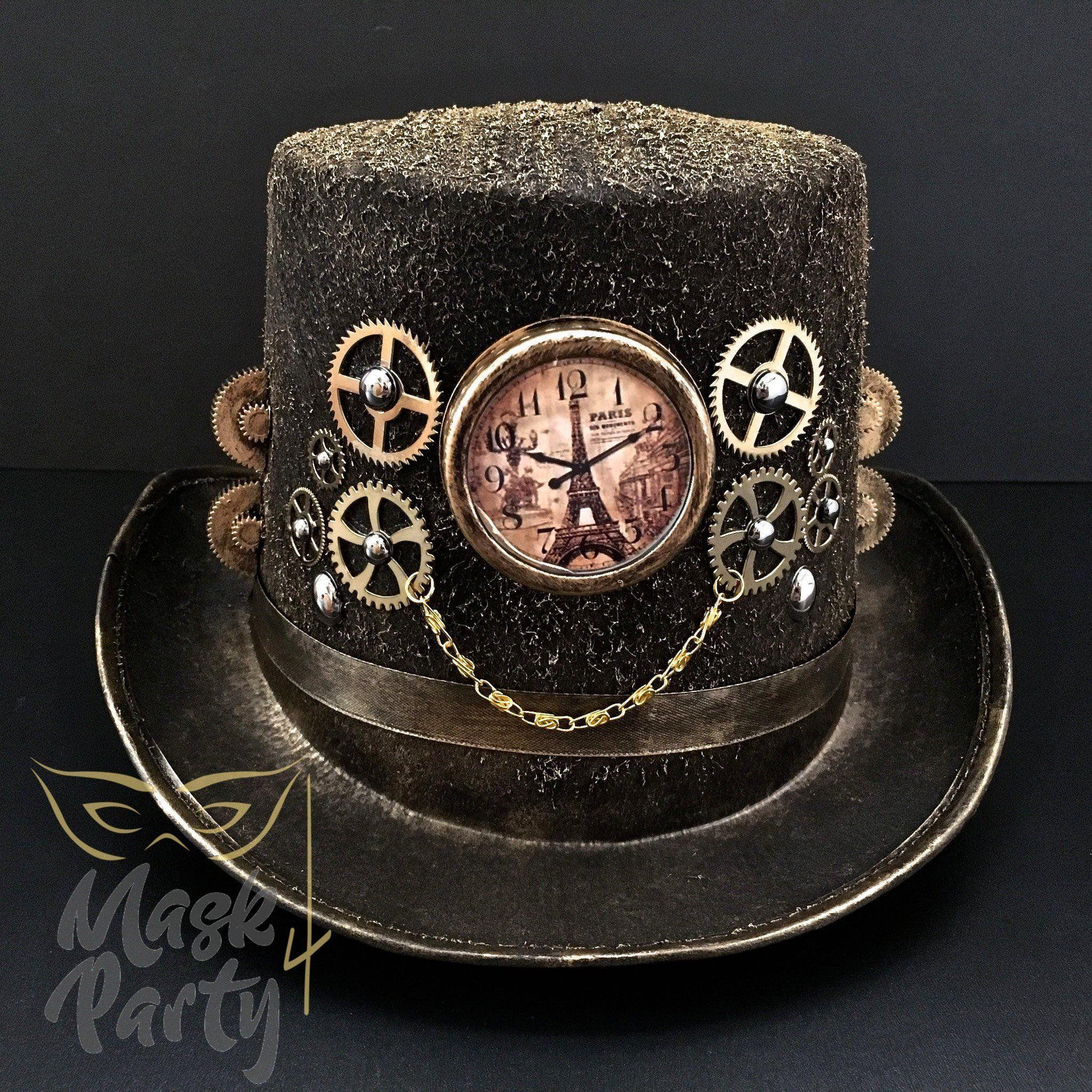 c4ae096c178 Steampunk Hat - Chain   Pseudo-clock - Black Gold