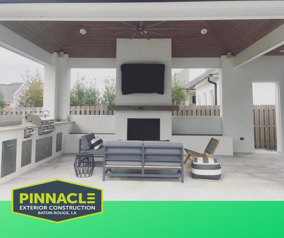 Custom Outdoor Kitchen With Vaulted Ceilings Bull Grills And White Quartzite Tile Customoutdoorl With Images Vaulted Ceiling Kitchen Outdoor Spaces How To Antique Wood