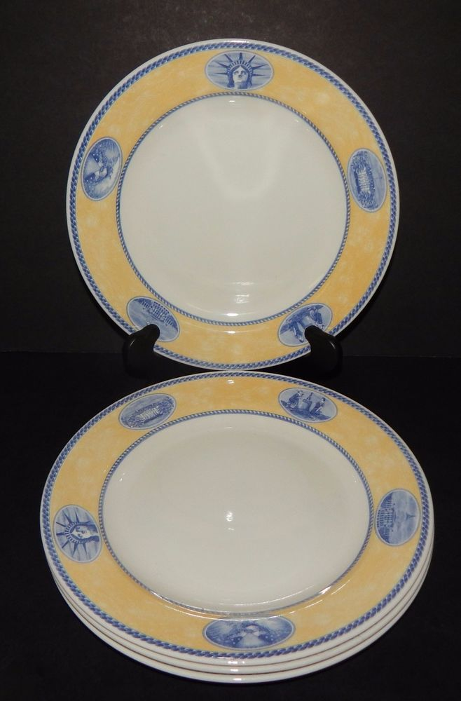 (4) White House Churchill AMERICAN HERITAGE Millennium Collection DINNER PLATES #AMERICANHERITAGE & 4) White House Churchill AMERICAN HERITAGE Millennium Collection ...