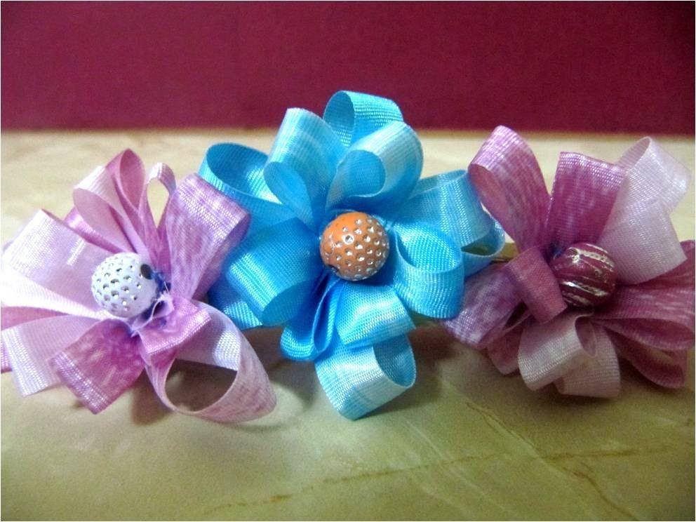 Lazos con flores de cintas para el cabello varios - Lazos con cintas ...