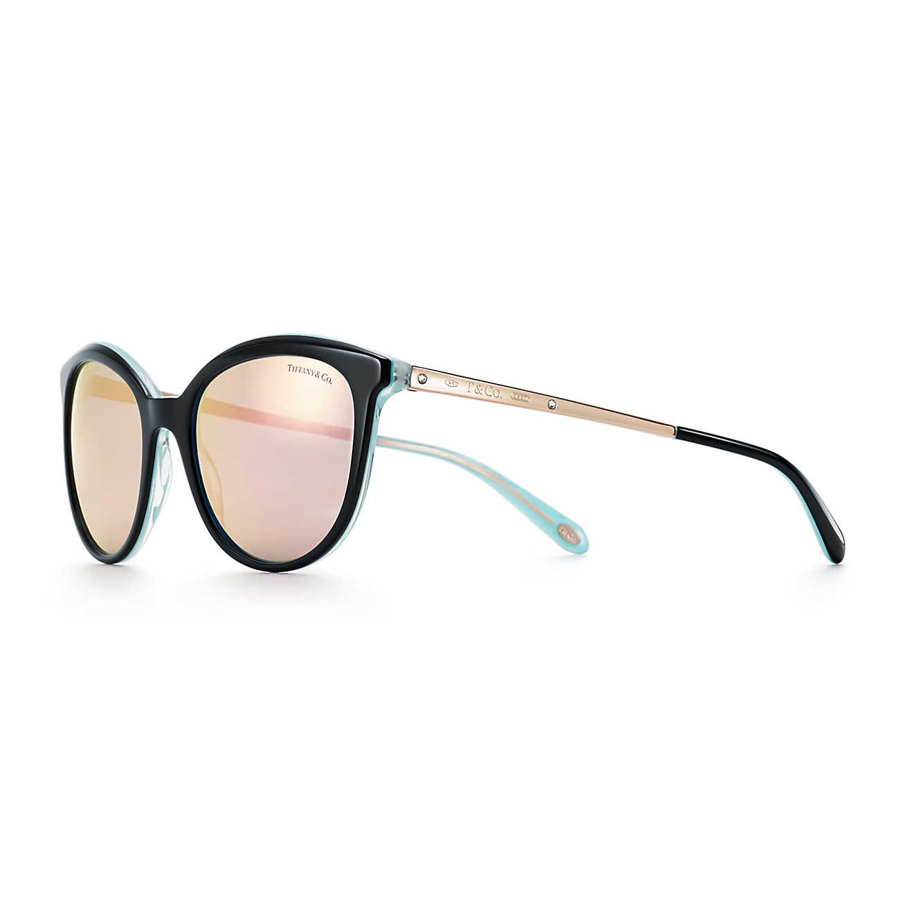 719006797ab Tiffany 1837™ panthos sunglasses in black and Tiffany Blue acetate.