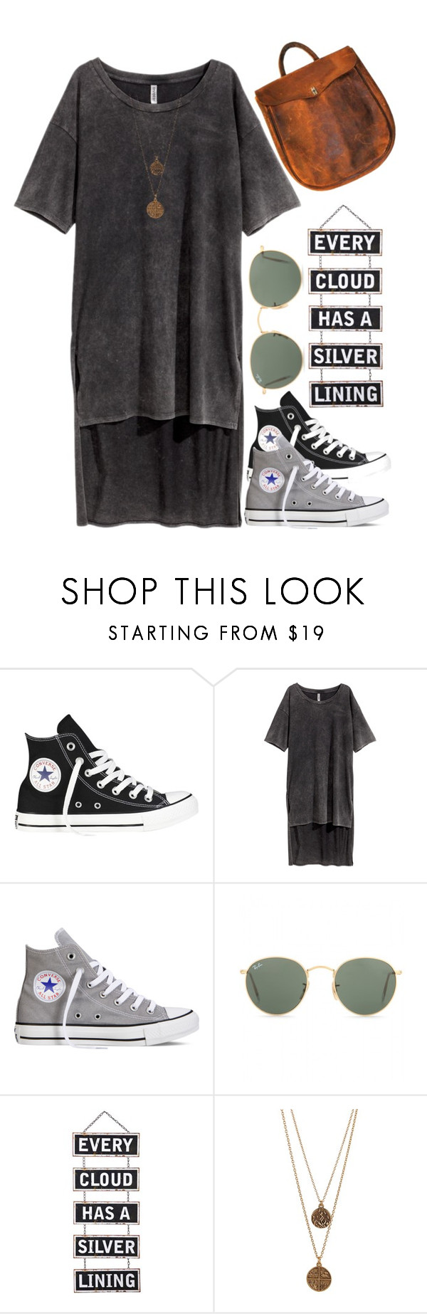 """""""BOHO ISSUES-CLASSIC !"""" by rebeler ❤ liked on Polyvore featuring Converse, H&M, Ray-Ban, Silver Lining, Bee Charming, vintage, converse, rayban, LeatherBag and casualdress"""