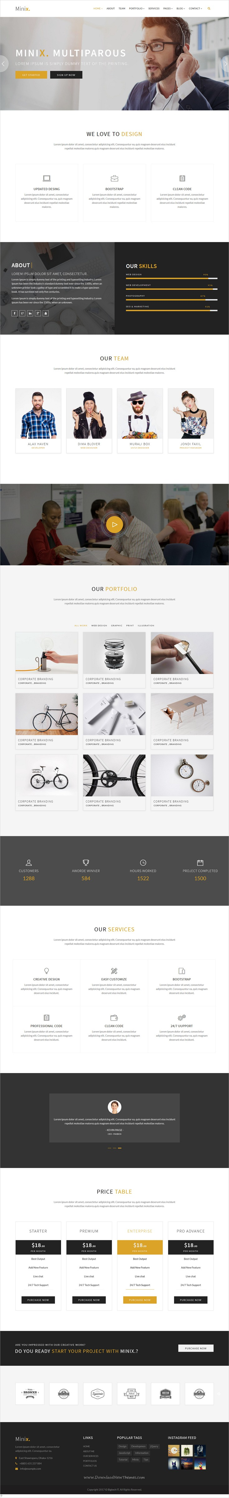 Minix. Multipurpose HTML5 Template | Business website