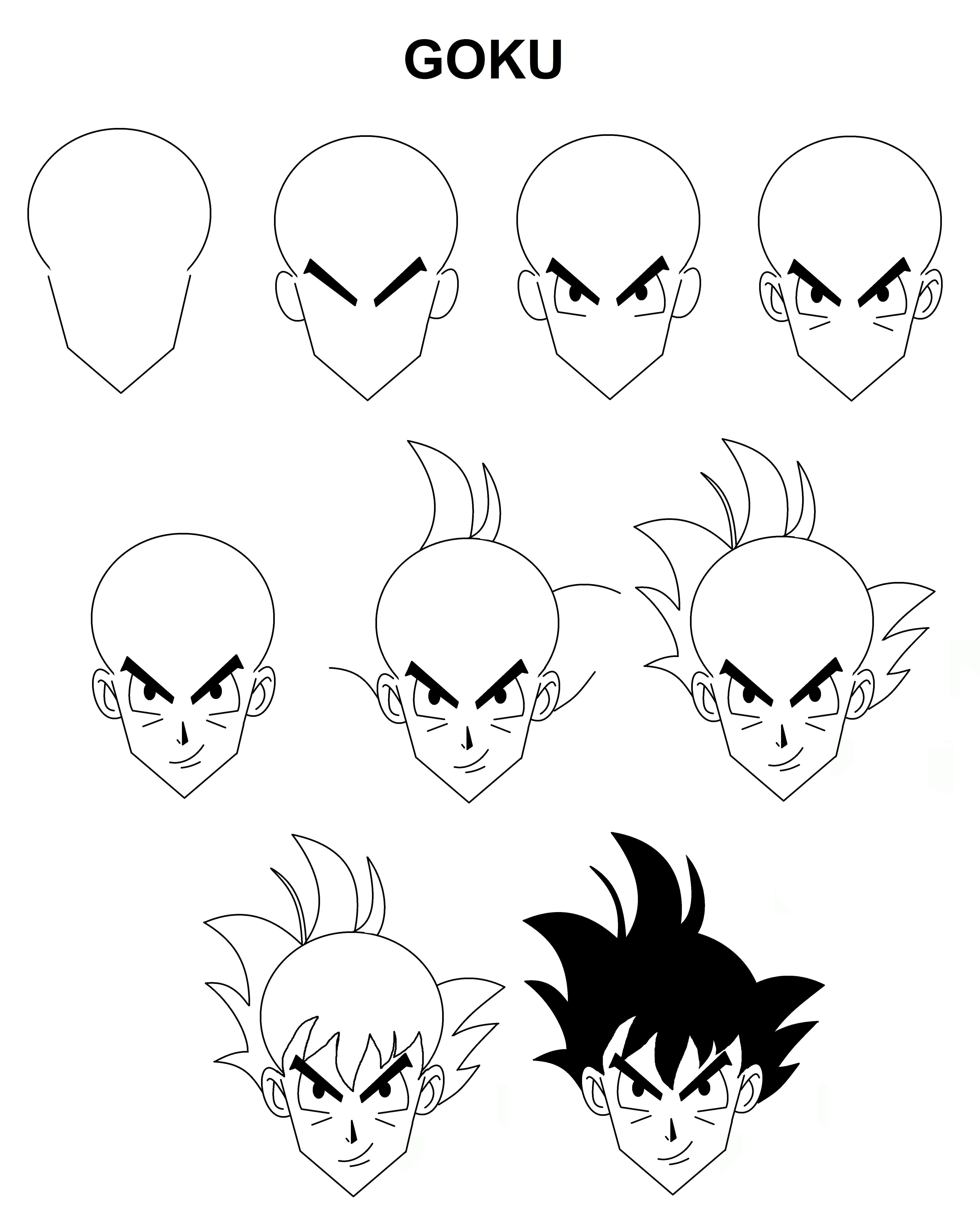 Goku Tutorial Step By Step Goku Drawing Mini Canvas Art Easy Drawings