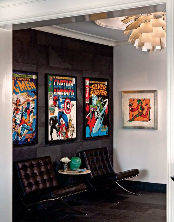 decorating comic book colections and displays design indulgences inspiracje komiksowe man. Black Bedroom Furniture Sets. Home Design Ideas