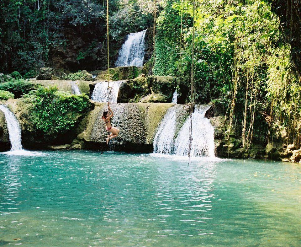 Jamaica Ropeswing Waterfall Nature Beautiful Water
