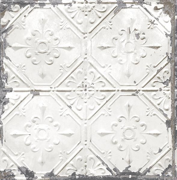 Tin Ceiling White Distressed Tiles 2701-22305 Brewster Wallpaper