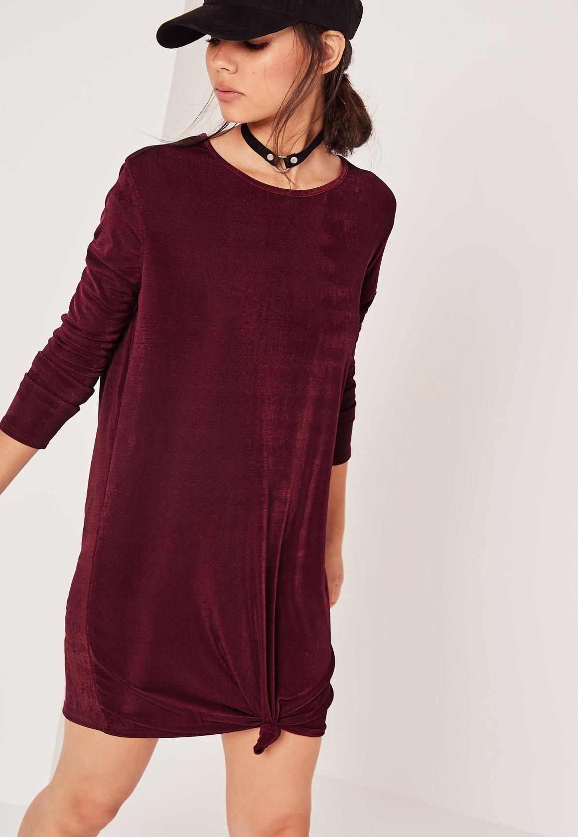 Missguided long sleeve slinky knot front dress purple missguided