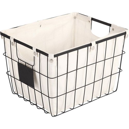 Better homes and gardens medium wire basket with chalkboard black storage organization for Better homes and gardens storage bins