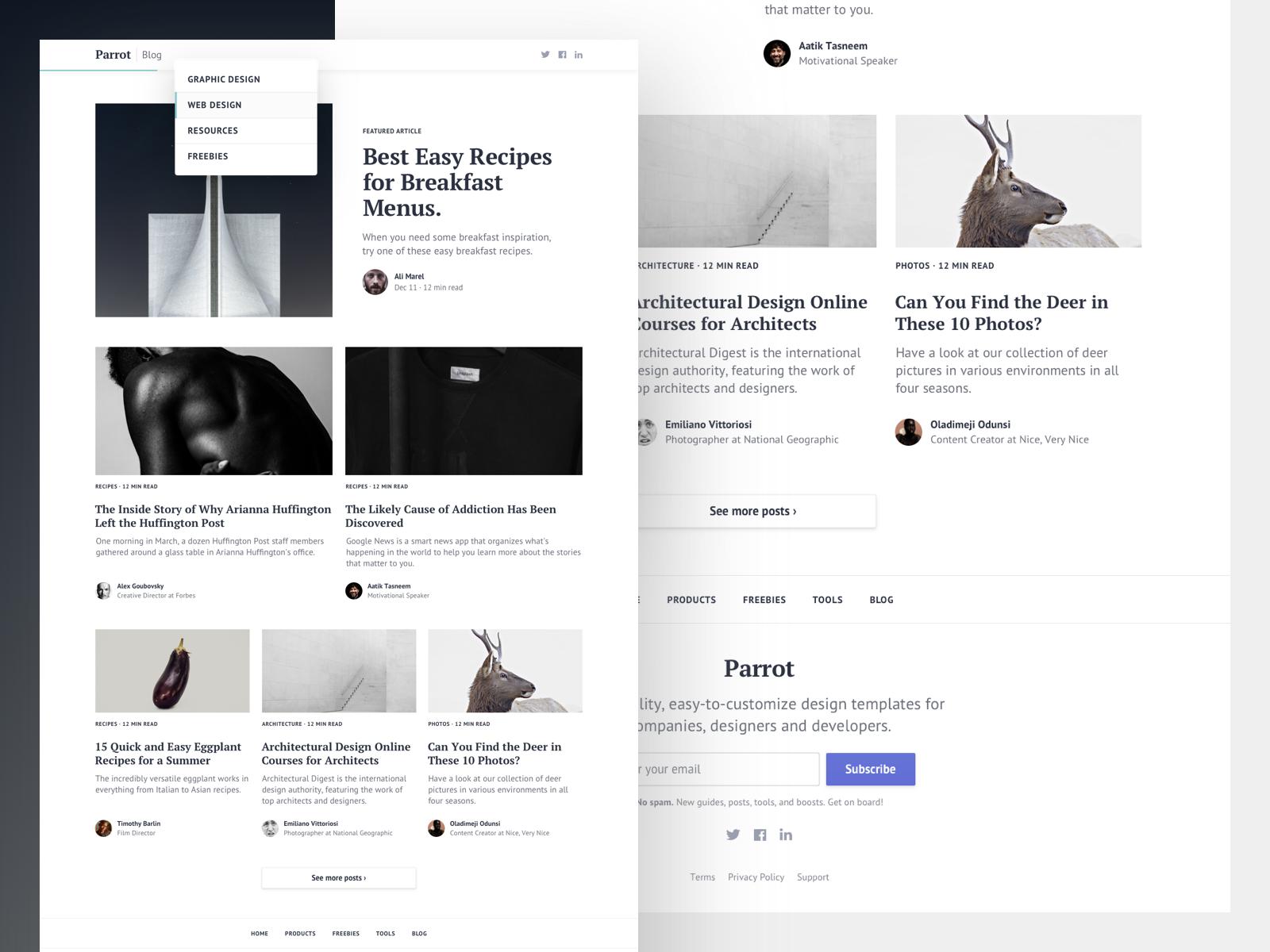 Parrot Bootstrap Blog Template Blog Template Web Design Inspiration Blog Template Design