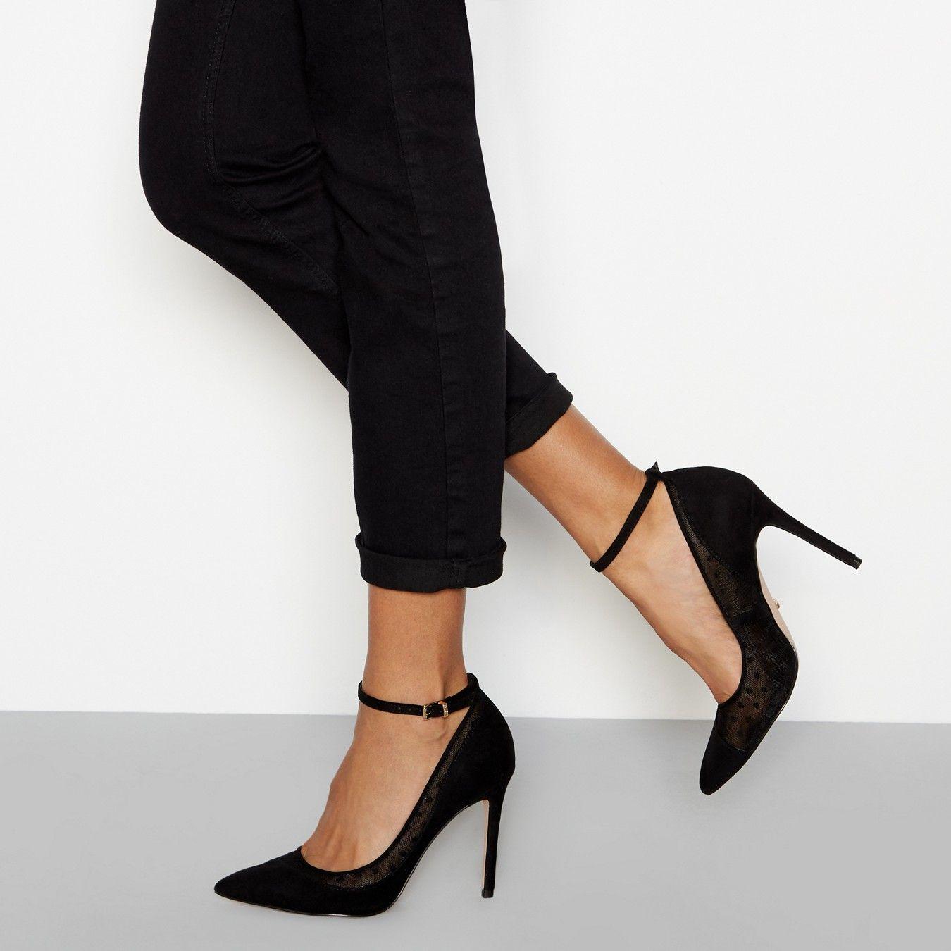 b181102884f Black polka dot mesh ankle strap high court shoes | Rachel | Court ...