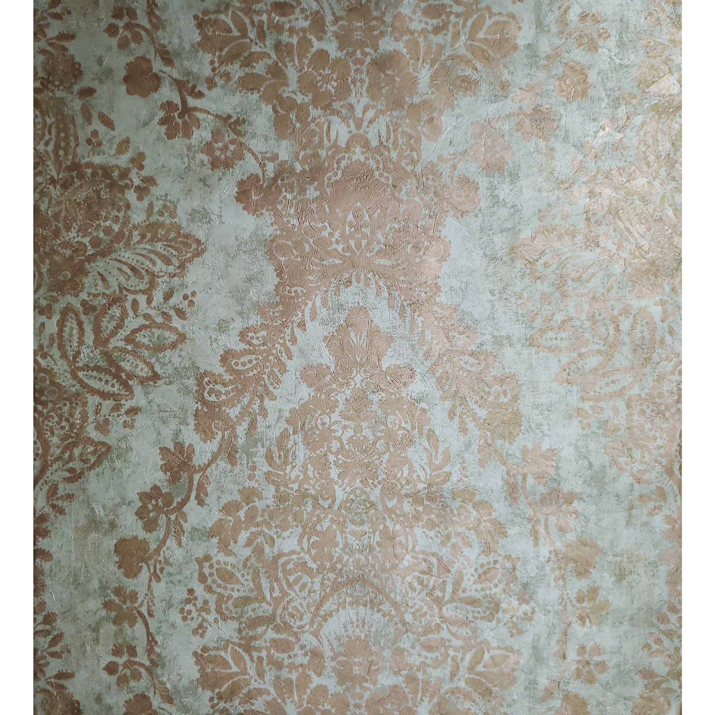 76008 Metallic Cooper Mint Green Vintage Damask Textured Wallpaper