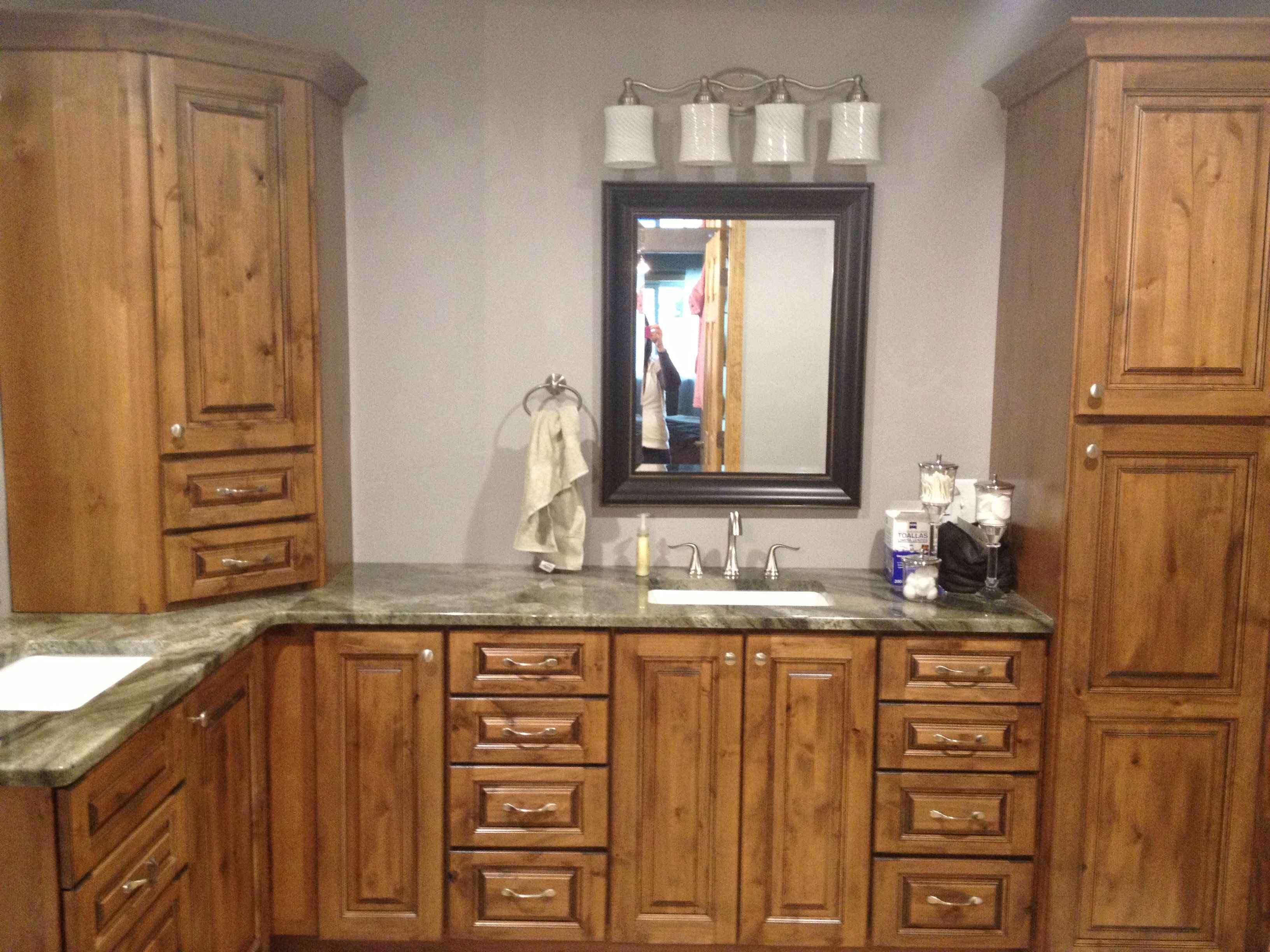 Knotty Alder Corner Bathroom Vanity with Linen | Small ...