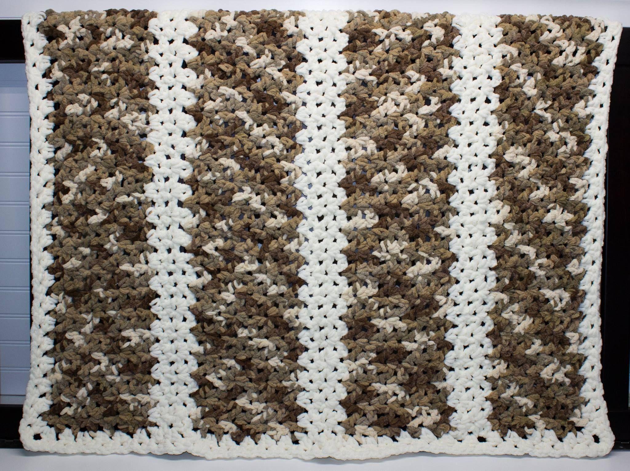 Camo Crocheted Blanket Using Bernat Chunky Blanket Yarn