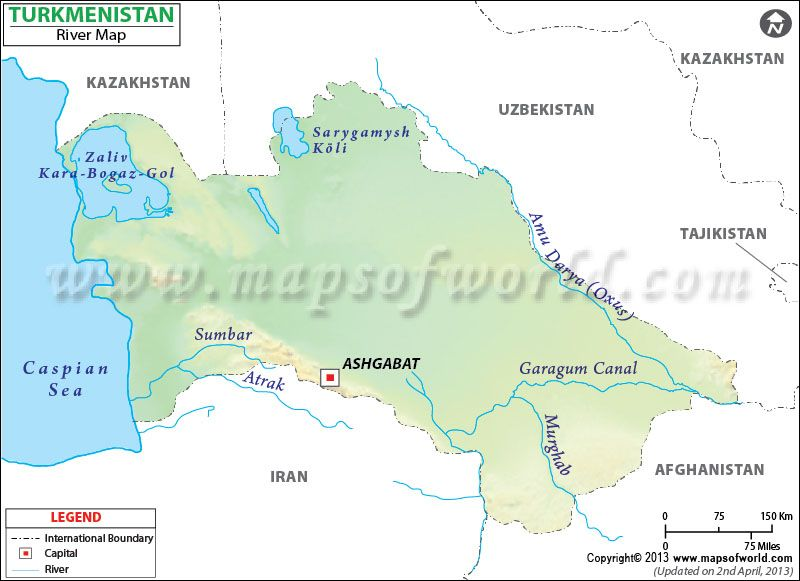 Turkmenistan River Map Turkmenistan Pinterest Rivers and Lakes