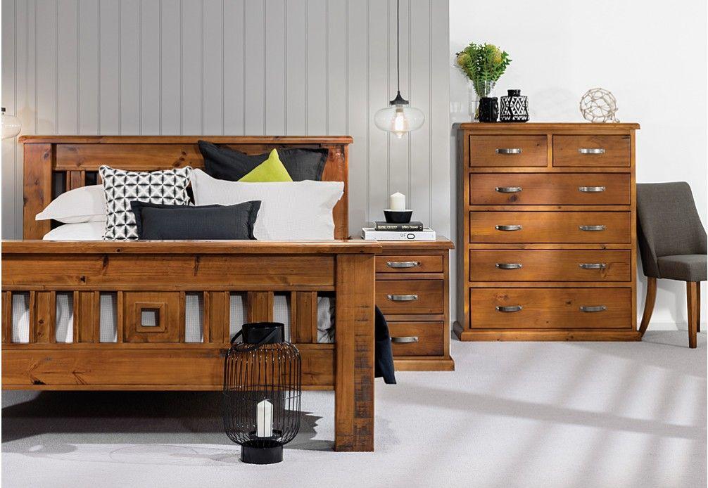 Settler 4 Piece Tall Chest Queen Bedroom Suite Super Amart Bedroom Suite Queen Bedroom Suite Bedroom