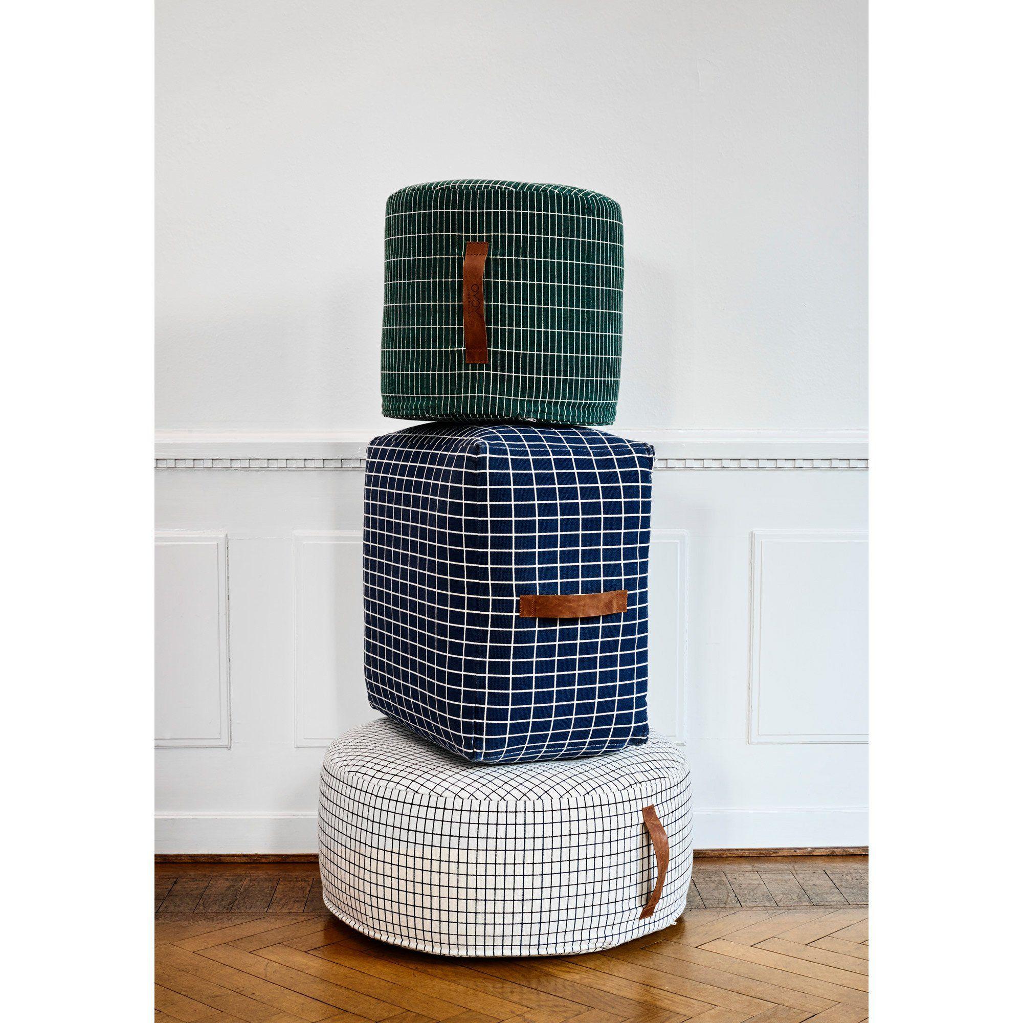 Sit On Me Pouf Cylinder Green Pouf Footstool Scandinavian Furniture Styrofoam Ball