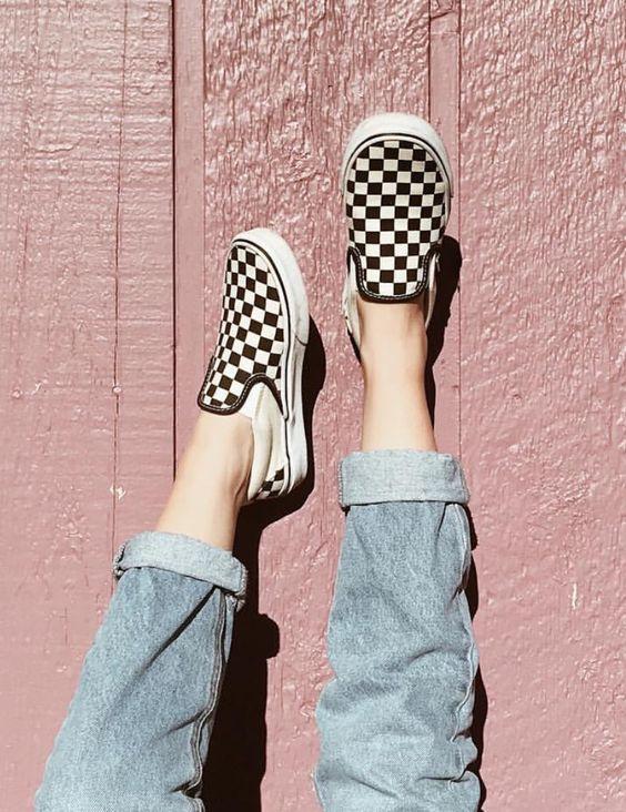 vans checkerboard slip on femme