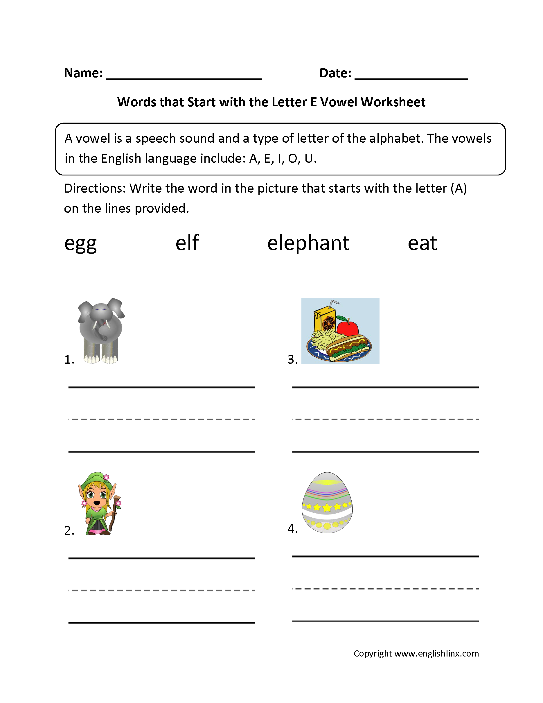 Words Start Letter E Vowel Worksheets