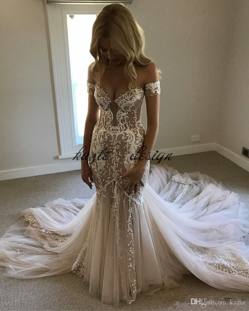 Pallas Couture Champagne Mermaid Wedding Dresses 2018 Modest Lace Tulle Off Shoulder Sw Wedding Dresses Beaded Wedding Dress Mermaid Lace Mermaid Wedding Dress [ 997 x 800 Pixel ]