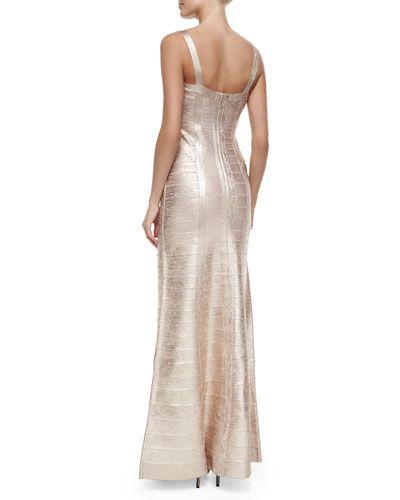 TAALH Herve Leger Wide-Strap Metallic Bandage Gown