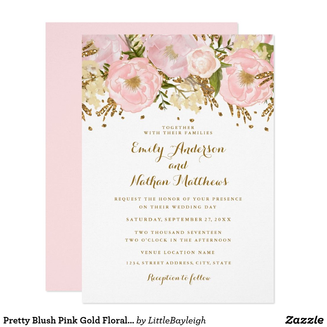 Pretty Blush Pink Gold Floral Wedding Invitation Zazzle Com Floral Baby Shower Invitations Sweet Sixteen Invitations Pink Invitations