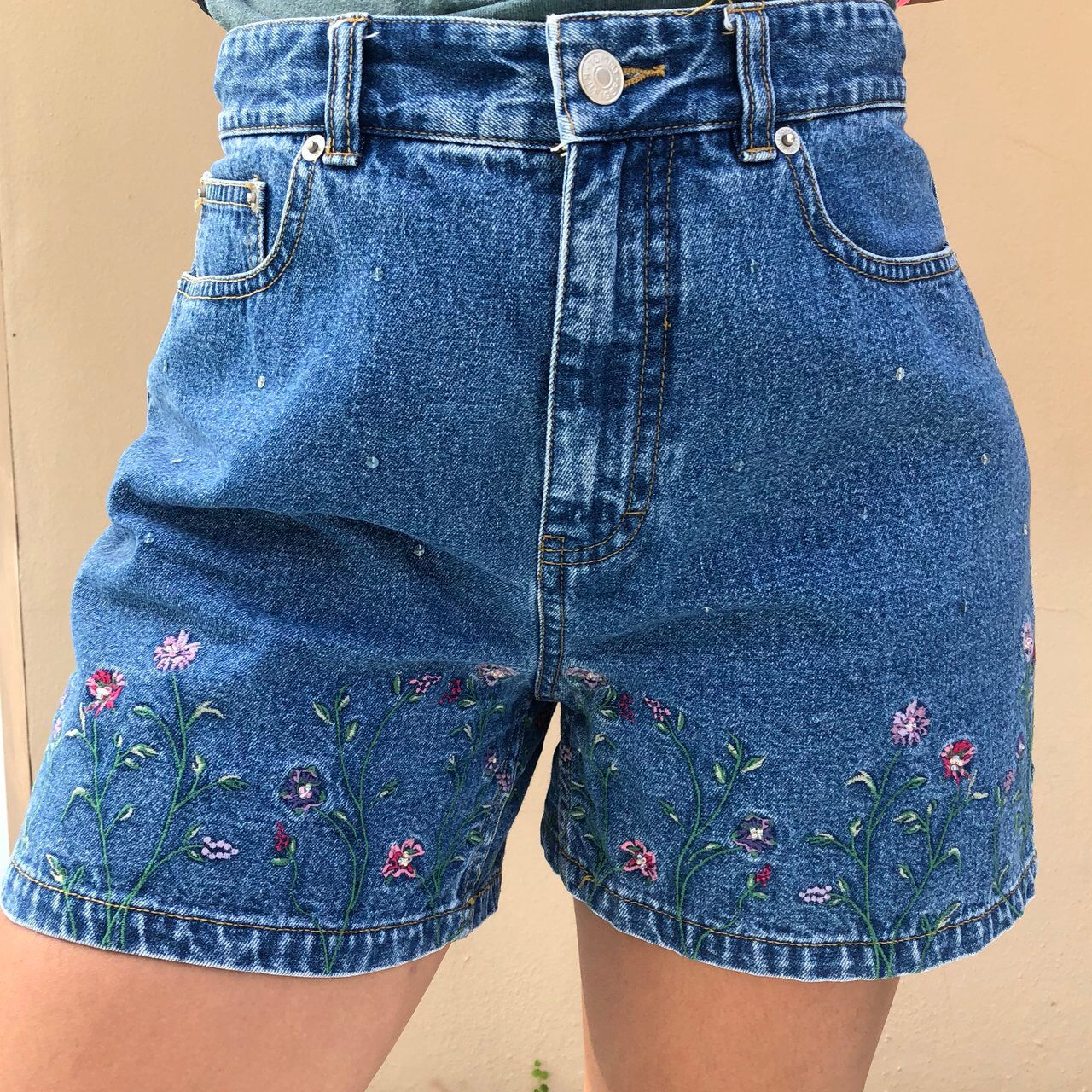Photo of Tommy Hilfiger embroidered flower shorts! Only flaw… – Depop