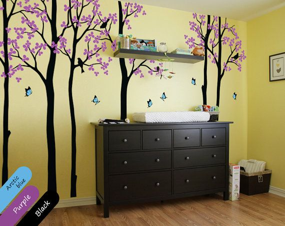 Modern nursery trees with butterflies Forest tree wall decals ...