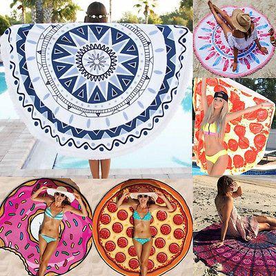 Bohemian Mandala Beach Round Tapestry Hippie Throw Roundie Yoga Mat Towel