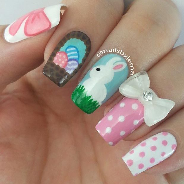 Cute Pink & White Easter Nails - 32 Cute Nail Art Designs For Easter StayGlam Beauty Pinterest