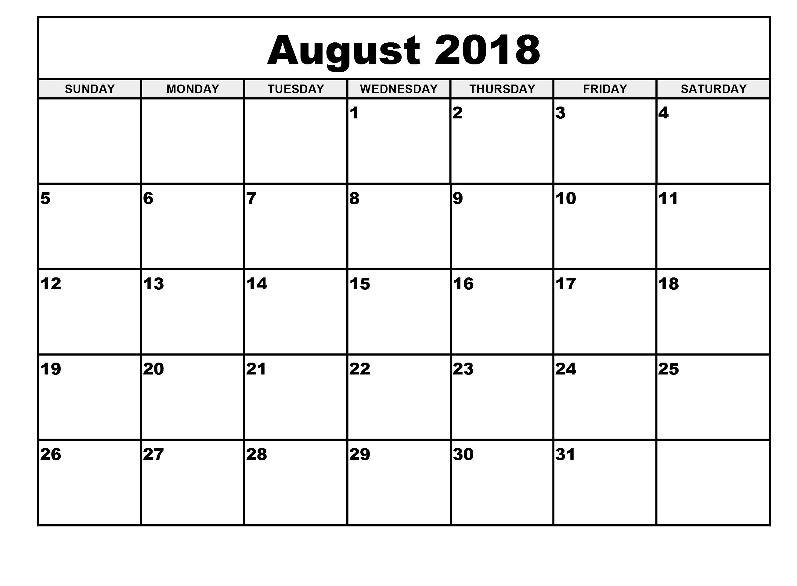 picture relating to Printable August Calendar Pdf named August 2018 Calendar, August 2018 Calendar Term, August 2018