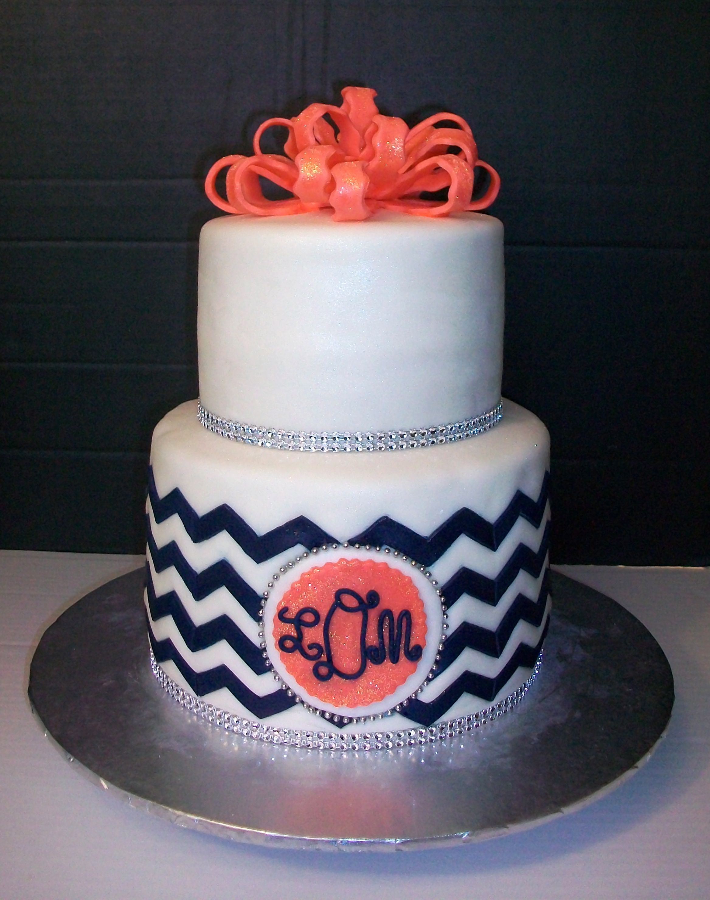 Chevron Monogram Cake Things Ive Made Pinterest Monogram - Monogram birthday cakes