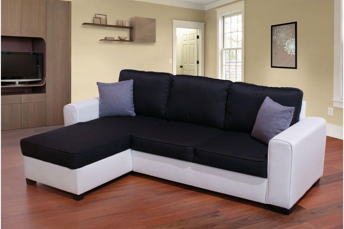 Canape D Angle Reversible Convertible Simili Cuir Et Tissu Noir Emma Canape Angle Canape