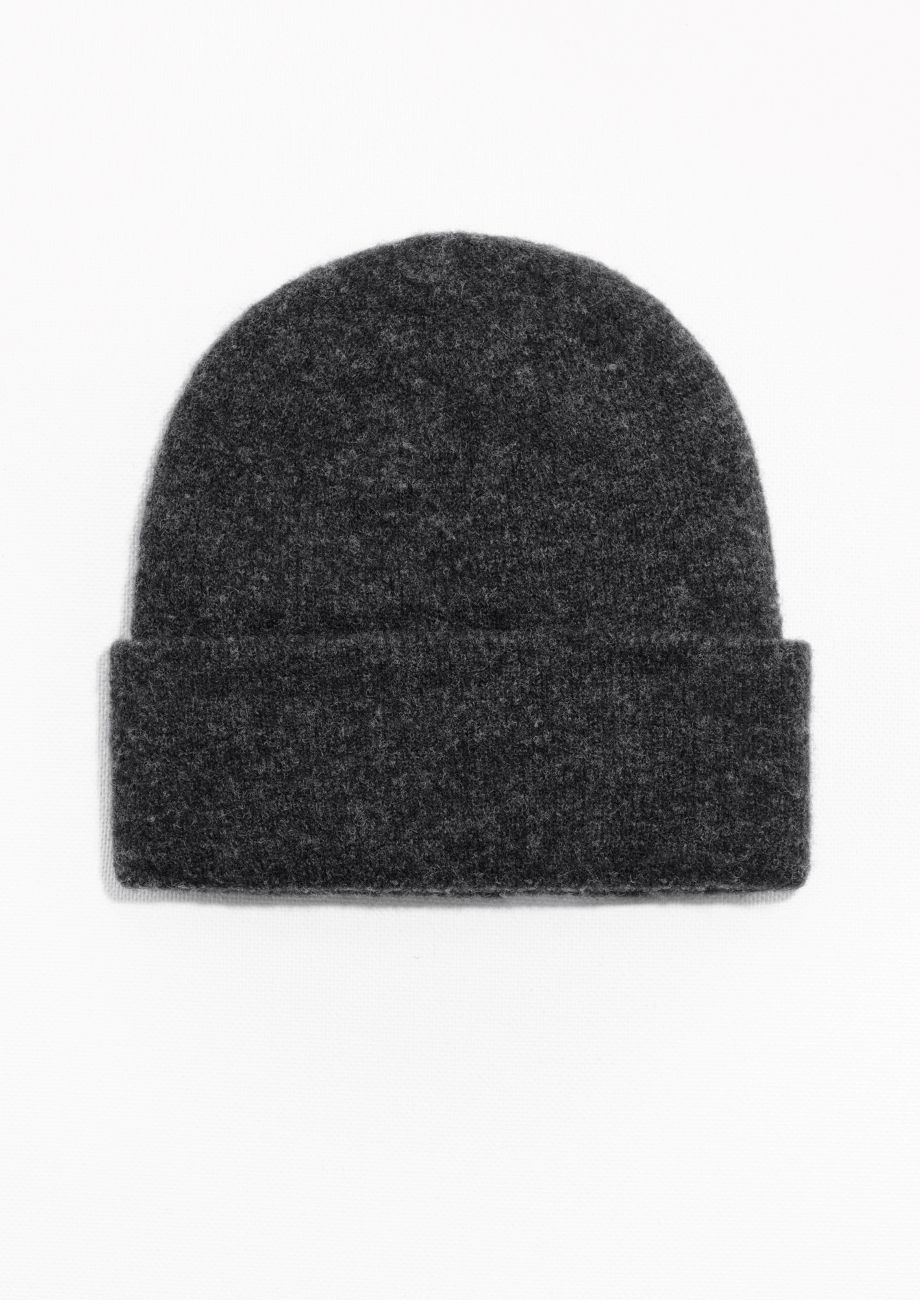 & Other Stories Merino/Wool Beanie in Dark Grey