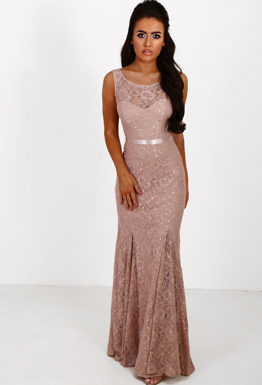 52f8407ceb17 Ever After Pink Metallic Lace Backless Fishtail Maxi Dress - 8 ...