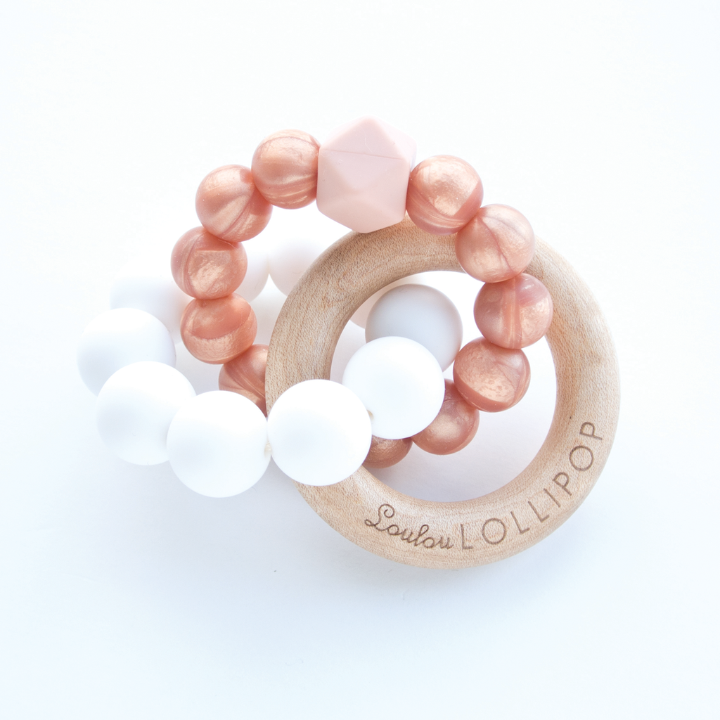 Trinity Silicone And Wood Teether Rose Gold Silicone Teether Teethers Wood Teethers