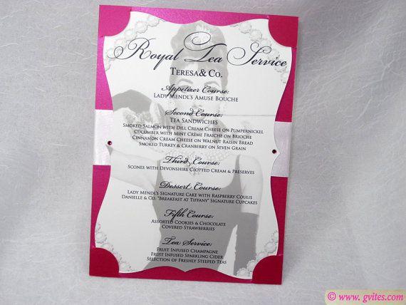 Breakfast At Tiffany Menus  Tiffany Blue  Pink Menu Cards