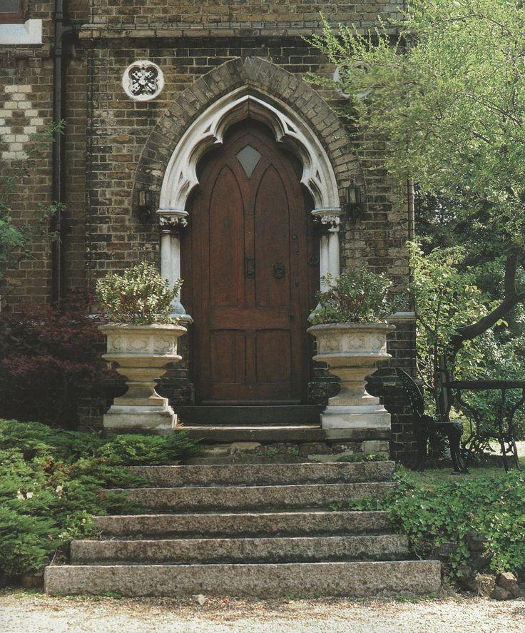 Victorian Literature A House Gothic Wooden Front Door Urns Gardens StepsStep Stones Doors