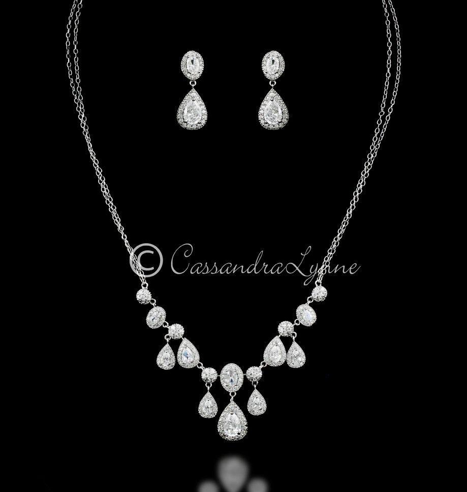 Vintage CZ Teardrops Bridal Necklace Set Vintage Wedding jewelry
