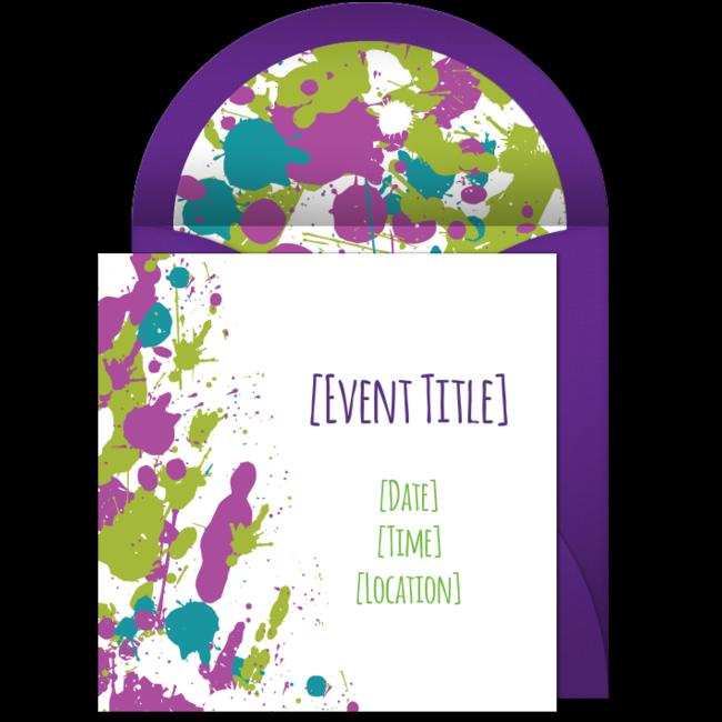 Free Paint Splatter Invitations – Punchbowl Birthday Invitations