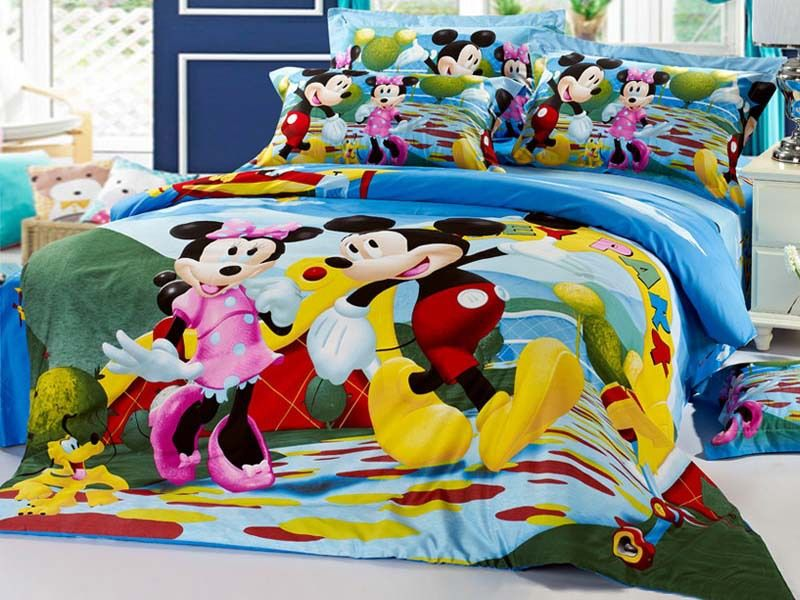 lovely Mickey Mouse Bedding Set Queen Size Part - 8: Free shipping brand minnie mouse bedding sets queen mickey mouse bed sheet  set cotton twill printing Kids duvet cover set(China (Mainland))