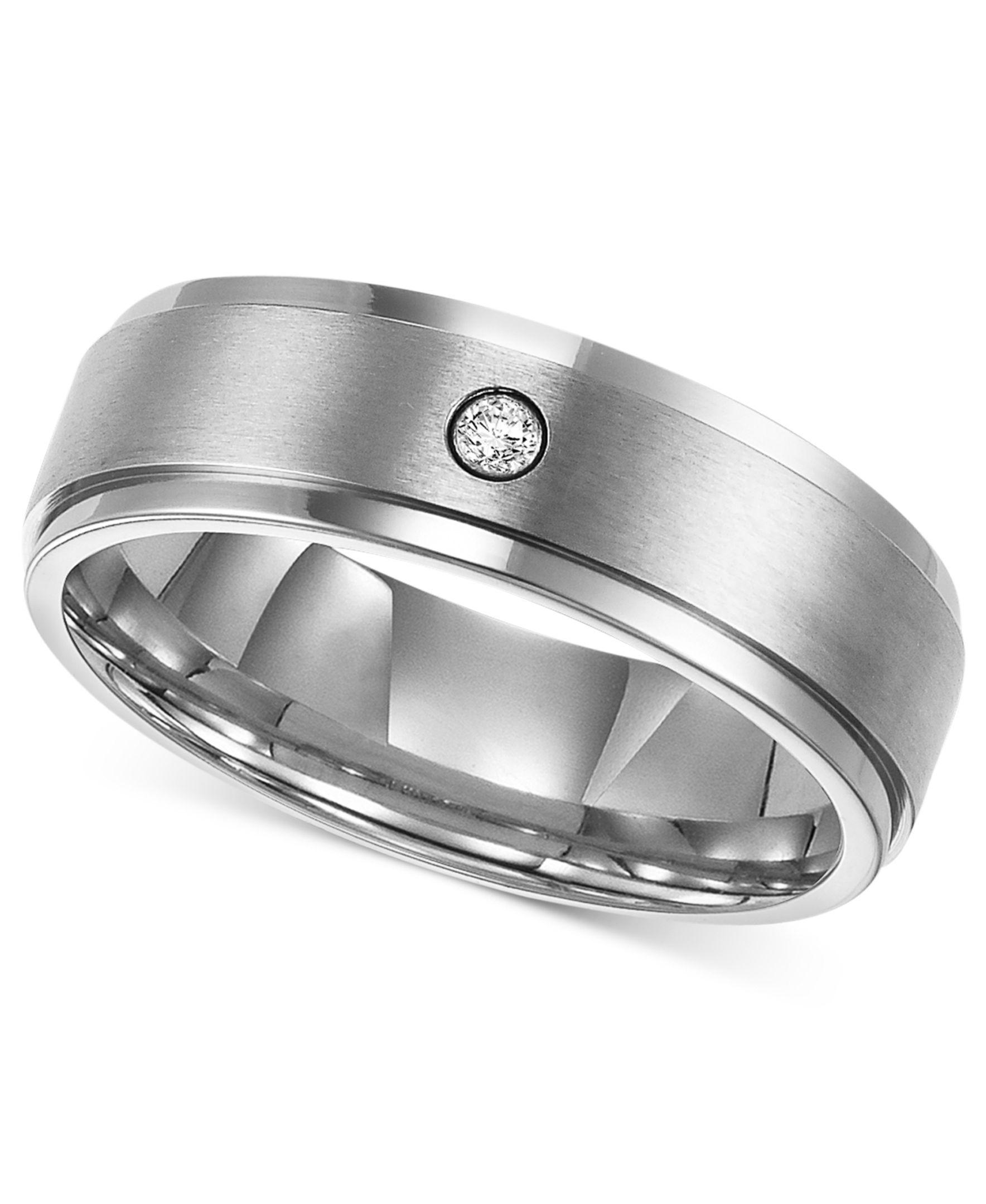 Triton Men's Titanium Ring, 7mm Diamond Accent Wedding