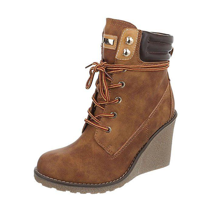 Ital-Design Schnürstiefeletten Damen-Schuhe Klassischer Stiefel Schnürer Schnürsenkel Stiefeletten Camel, Gr 37, 2080-