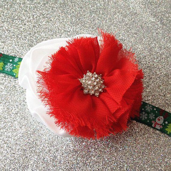 Christmas Headband- Red and White Headband, Holiday Headband, Flower Headband, Newborn Headband, Toddler Headband, Clip on Etsy, $8.25