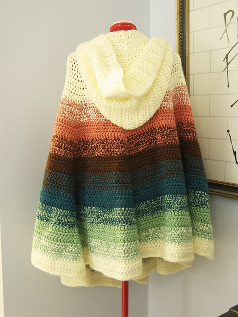 Free Crochet Hooded Poncho Patterns Ombre Stripe Cape Free