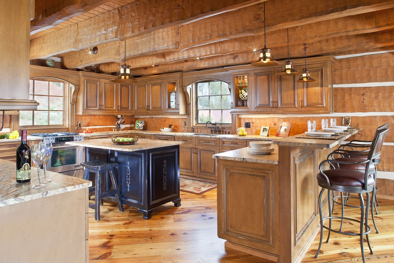 Log Home Design Featured Small Kitchen Island With Stools Plus Unique  Backsplash Idea Prepare Your Best Escapism In The Countryside With Log Home  Ideas ...